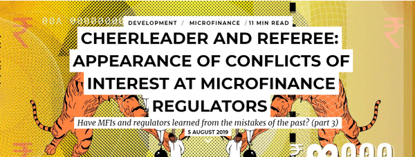 Cheerleader and referee: Appearance of conflicts of interest at microfinance regulators